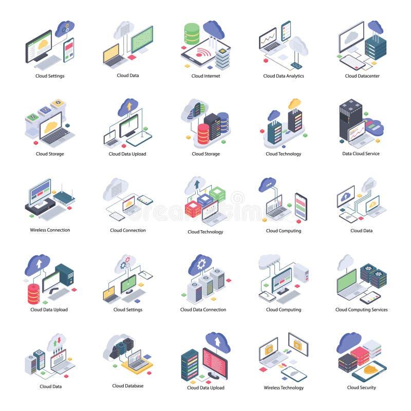 Cloud Computing symboler packar vektor illustrationer
