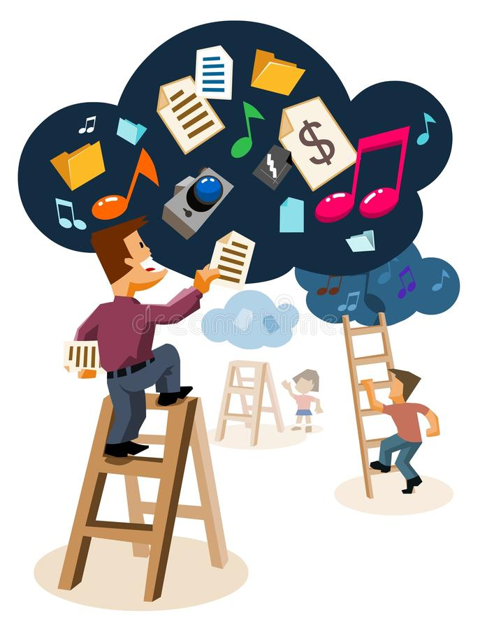 Cloud Computing System technology. Detailed Vector Illustration royalty free illustration