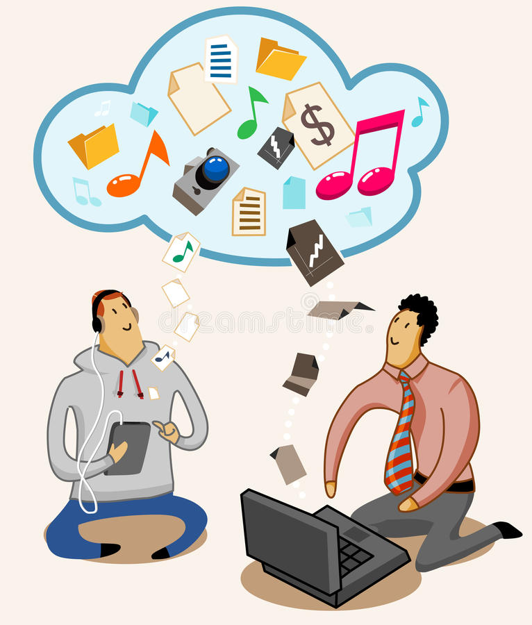 Cloud Computing System technology. Detailed Vector Illustration stock illustration