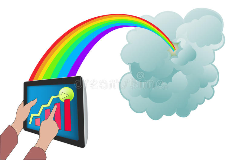 Cloud computing with tablet PC stock image