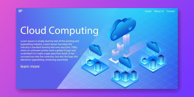 Cloud Computing-technologie, de centrale verwerkingseenheids isometrisch concept van het Servernetwerk Het ontwerp van het Webmal stock illustratie
