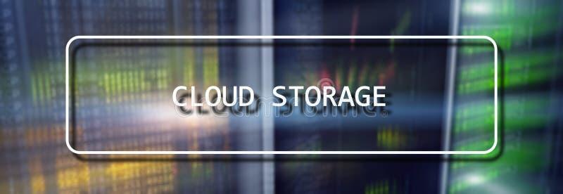Cloud Computing-Technologie-Internet-Speicher-Netz-Konzept auf unscharfem Supercomputerserverraum lizenzfreie abbildung