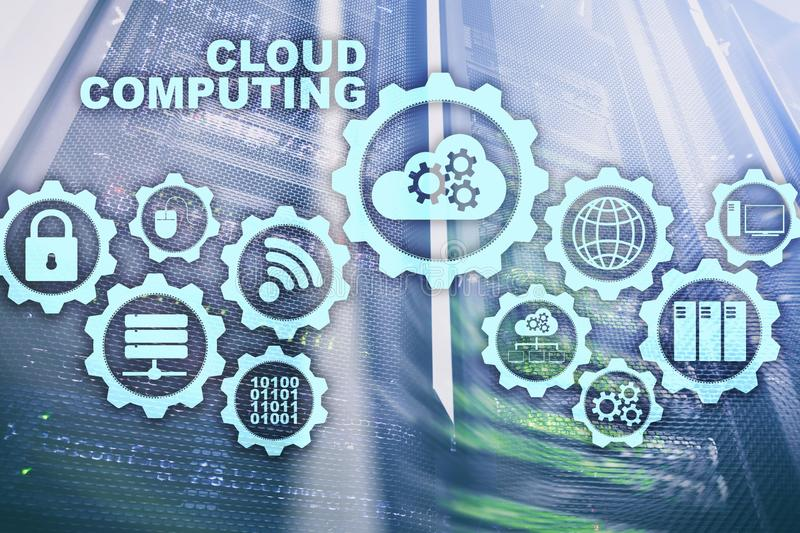 Cloud Computing, Technologie-Zusammenhang-Konzept auf Serverraumhintergrund stockfotografie
