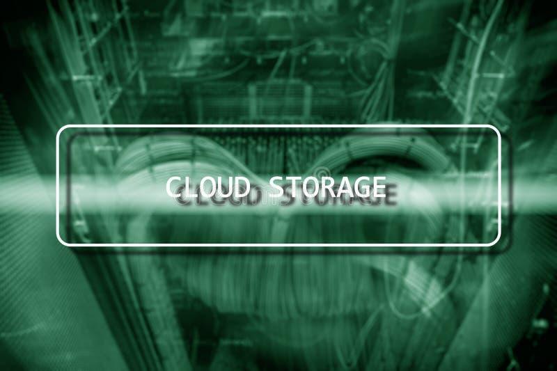 Cloud Computing technologii sieci Internetowy Składowy pojęcie na zamazanym superkomputeru serweru pokoju zdjęcia stock