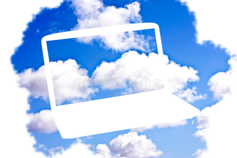 Cloud Computing Technology. Concept - laptops in cloudscape royalty free stock images