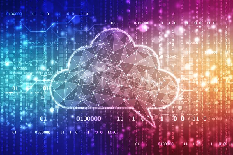 Cloud Computing Technology Background, Cloud with Binary in abstract background. Cloud computing, Cloud Computing Technology Concept background, Cloud with stock photo