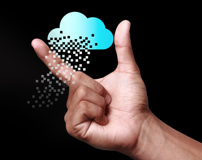 Cloud computing technology with hand on dark background. Cloud computing is a general term for the delivery of hosted services over the Internet stock image