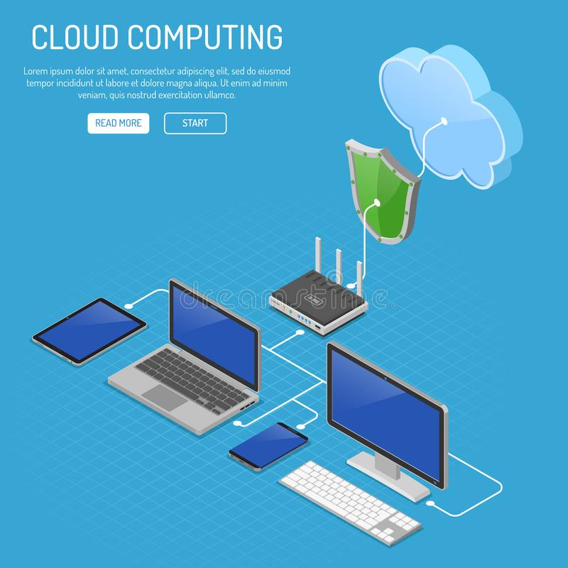 Cloud Computing Technology Isometric. Concept with Computer, Laptop, Smartphone, Tablet, Router and Shield Icons. Security cloud storage server. Vector vector illustration