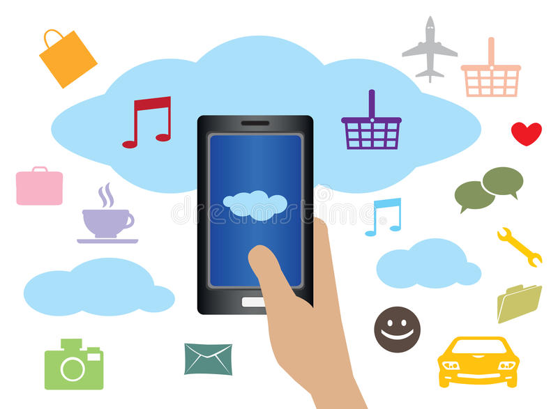 Cloud Computing Technology for Mobile Phone. Vector illustration of hand holding handphone with clouds and web applications icons in background stock illustration