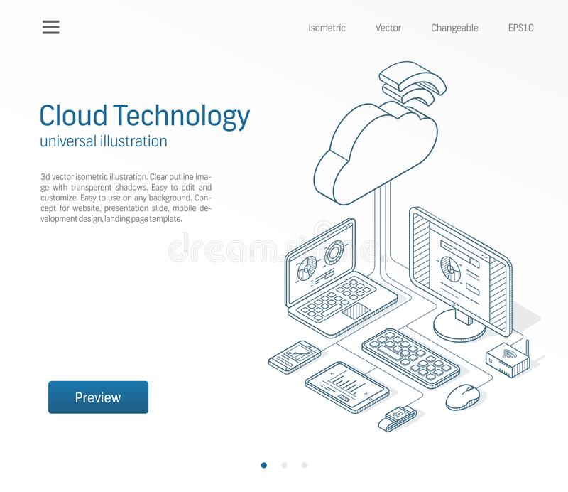 Cloud computing technology modern isometric line illustration. Database, online server, internet platform business. Sketch drawn icons set. 3d vector background royalty free illustration