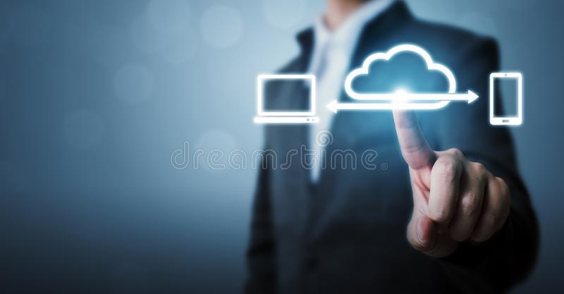 Cloud computing and technology network connection concept, Businessman hand holding icon cloud server royalty free stock photo