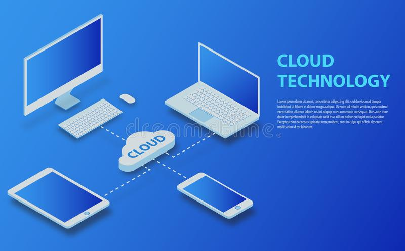 Cloud computing technology users network configuration vector illustration vector illustration