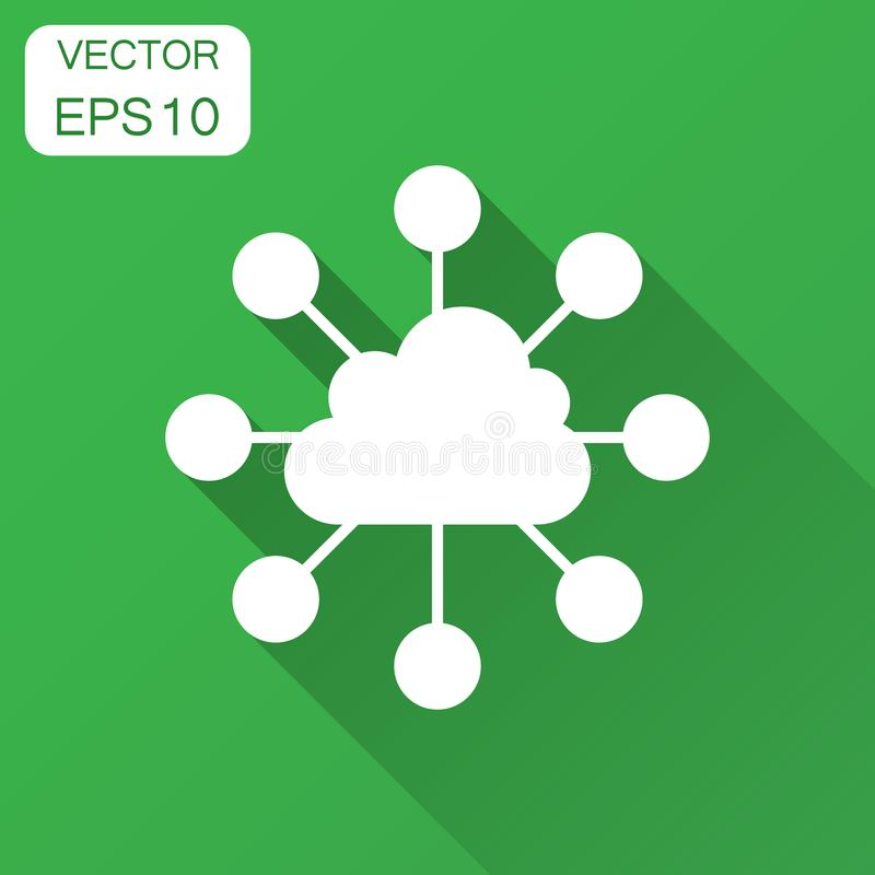 Cloud computing technology vector icon in flat style. Laptop screen with long shadow. Infographic analytics network business. Concept royalty free illustration