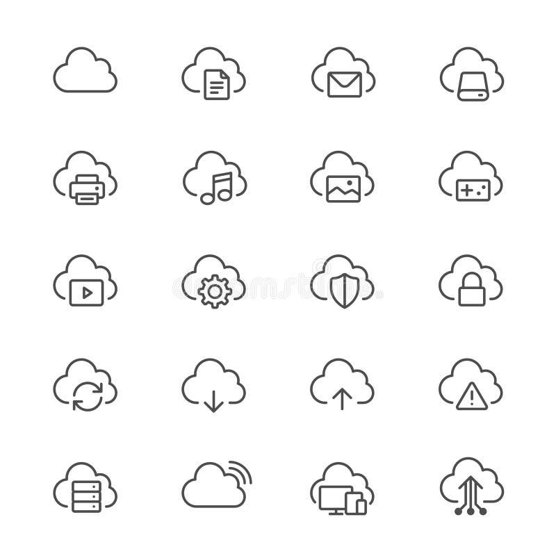 Cloud computing thin icons royalty free illustration