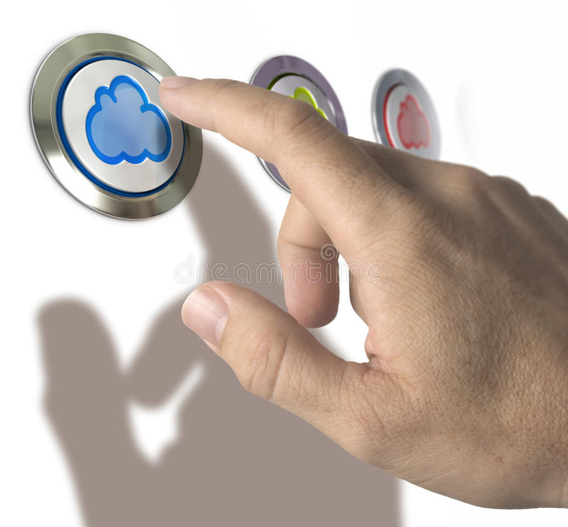 Cloud Computing. Three clouds buttons over white background with man hand and finger pressing the first one. Conceptual image for cloud computing illustration vector illustration