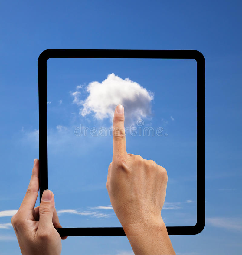 Cloud computing and touch pad concept stock photography