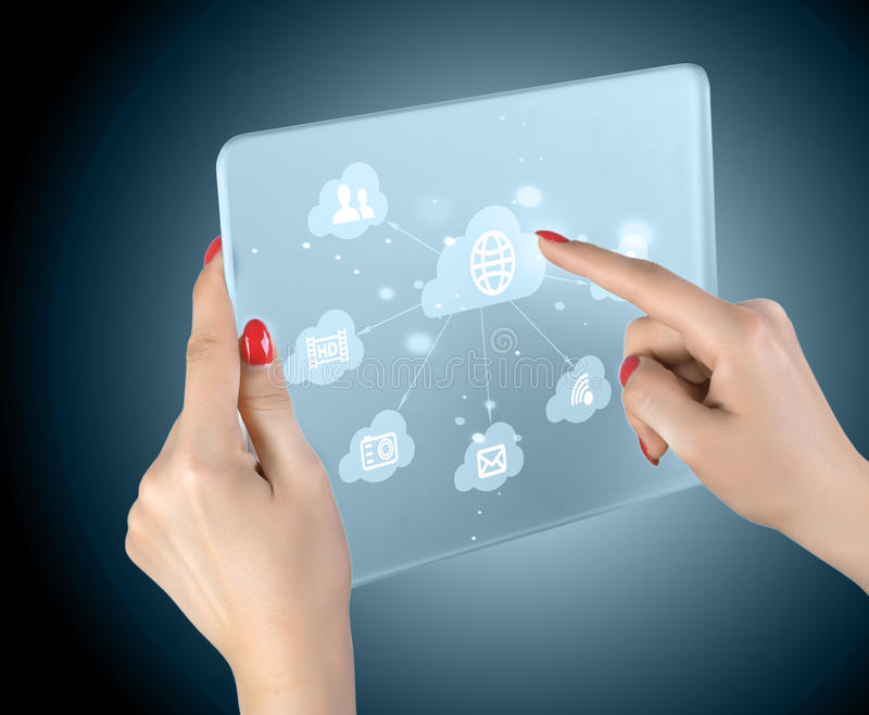Cloud Computing Touchscreen Interface Royalty Free Stock Photography