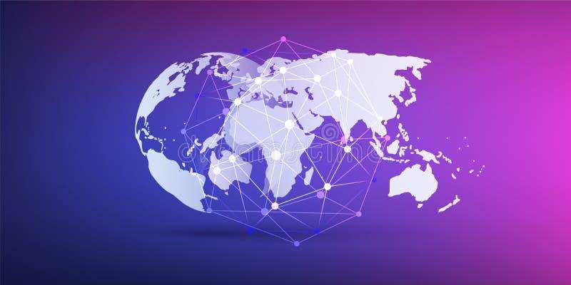 Cloud Computing und Netz-Konzept, Weltkarte und Netz-Masche auf purpurrotem Hintergrund - globale Digital-Verbindungen vektor abbildung
