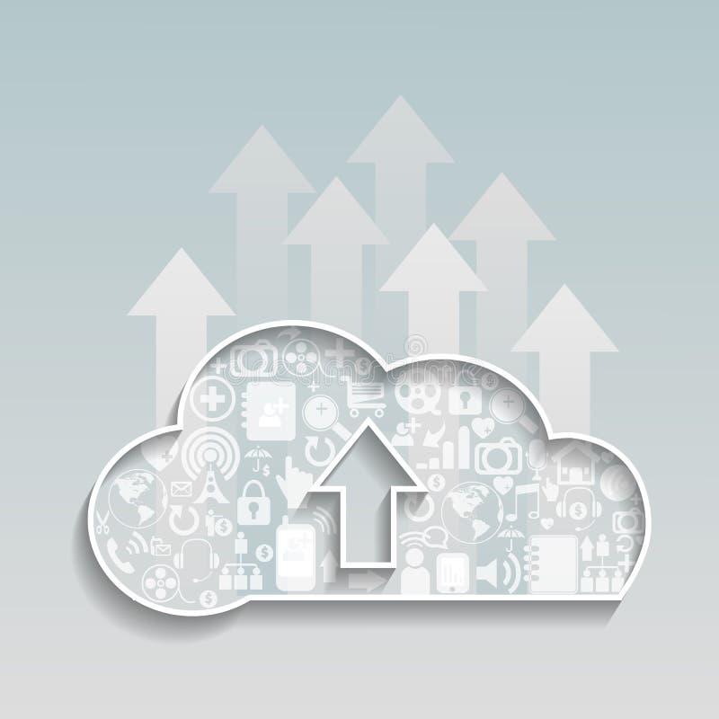 Cloud Computing-Upload cloud social network. stock illustration