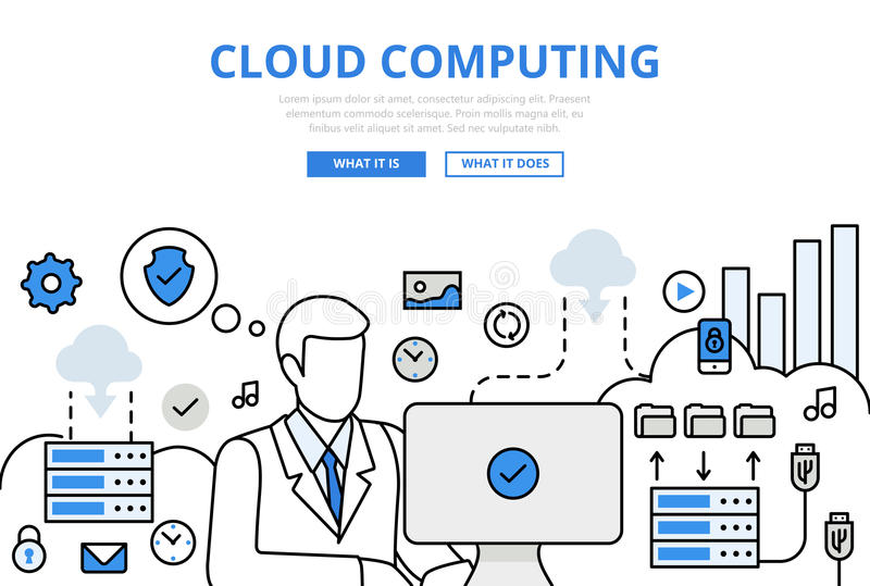Cloud computing upload concept flat line art vector icons vector illustration