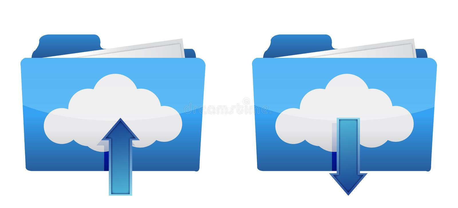 Cloud computing upload and download icons royalty free illustration