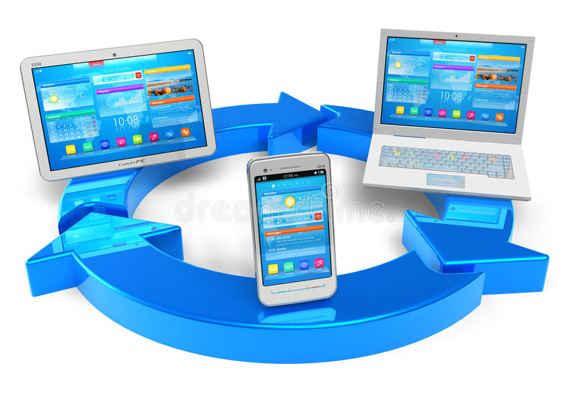 Cloud computing and wireless networking concept. White tablet PC, smartphone and laptop connected with blue round arrows isolated on white background