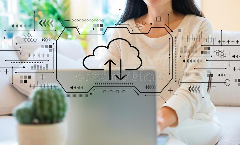 Cloud computing with woman using her laptop. In her home office stock illustration
