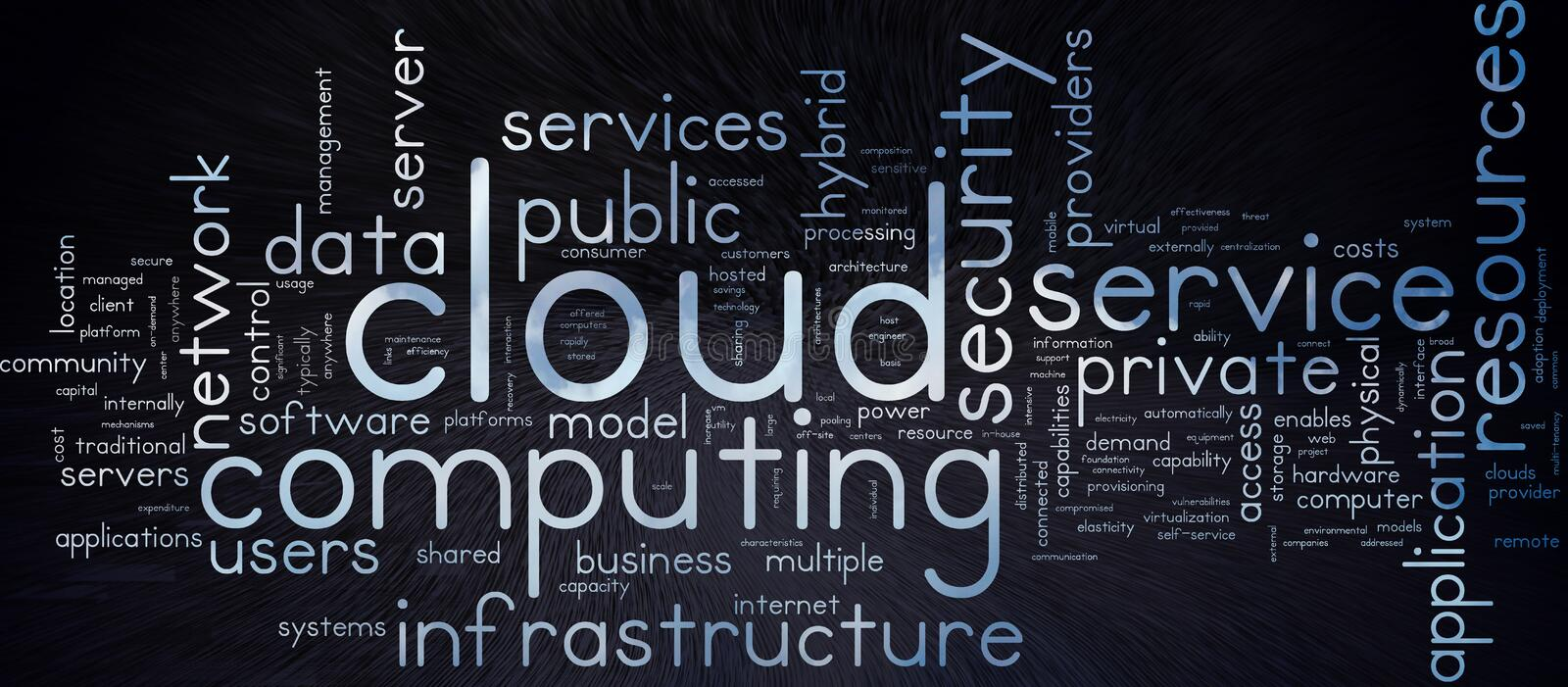 Cloud Computing. Word tag cloud, with cloud effect text, and subtle technical effect background