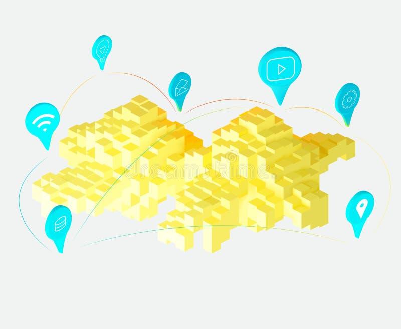 Cloud computing yellow 3d style stock illustration