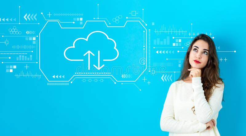 Cloud computing with young woman stock photo