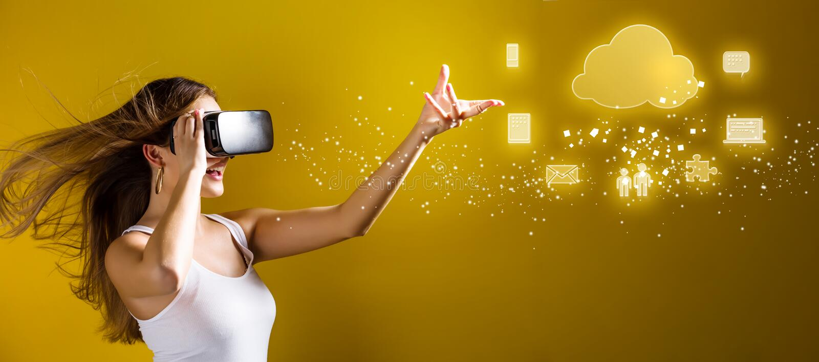 Cloud Computing with woman using a virtual reality headset stock photography