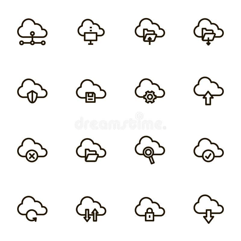 Cloud Computing znaków czerni ikony Cienki Kreskowy set wektor ilustracja wektor