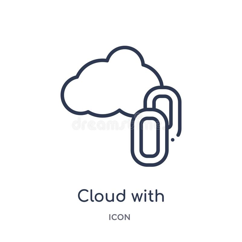 cloud with connection icon from user interface outline collection. Thin line cloud with connection icon isolated on white stock illustration