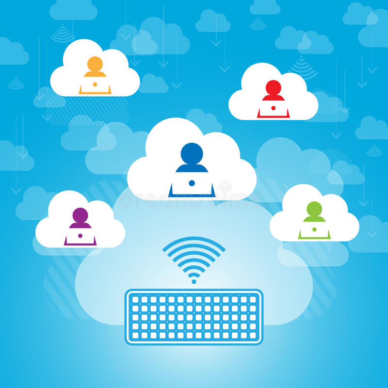 Download Cloud Contacts Sharing stock vector. Image of information - 32788091