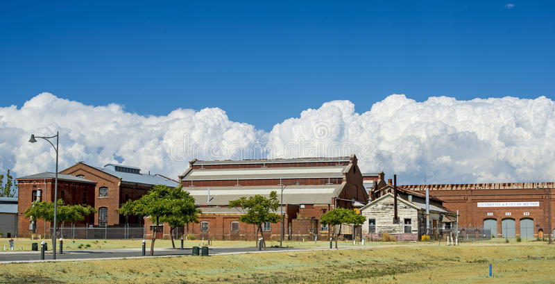 Cloud Cover. In Perth Australia the old railway refurbishment works is blanketed in some really amazing cumulus clouds royalty free stock images