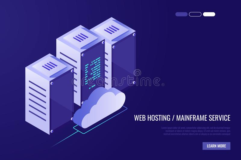 Cloud data center with hosting servers. Computer technology, network and database, internet center.Server racks with royalty free illustration
