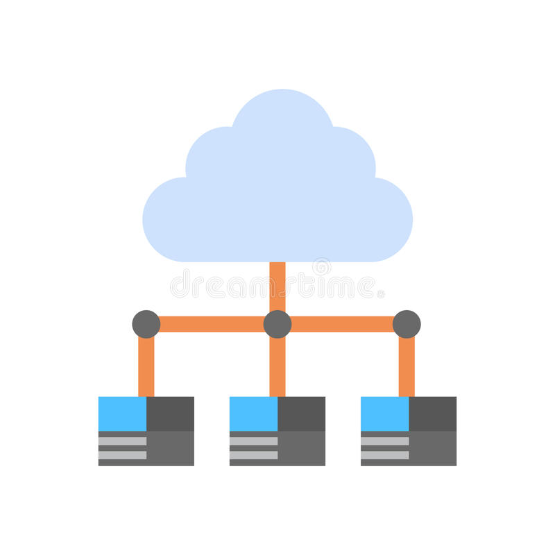 Cloud Data Center Icon Computer Connection Hosting Server Database Synchronize Technology royalty free illustration