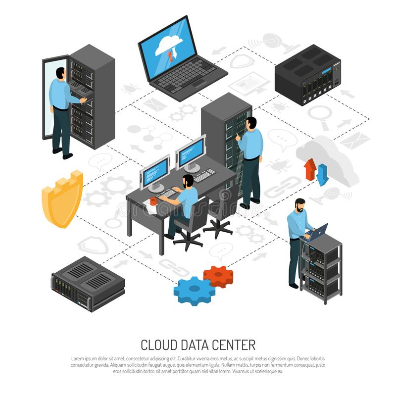 Cloud Data Center Isometric Flowchart. With technical staff and racks of server units vector illustration vector illustration