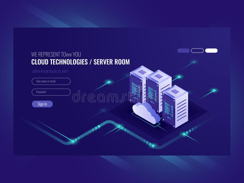 Cloud data center, server room icon, information request processing, computer technologies, isometric vector vector illustration