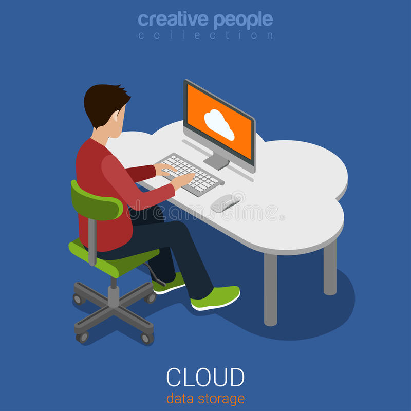 Cloud data personal storage computing flat 3d vector isometric royalty free illustration
