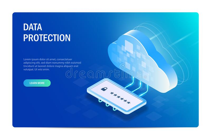 Cloud Data Protection with Passord. Isometric Concept. Access to files after verification of identity. Web site template vector illustration