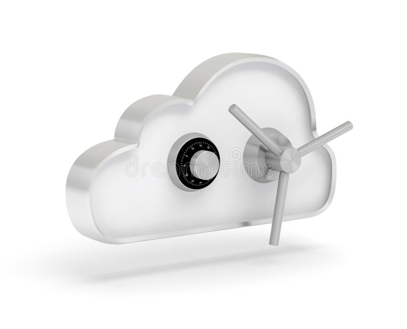 Cloud data safe 3D vector illustration