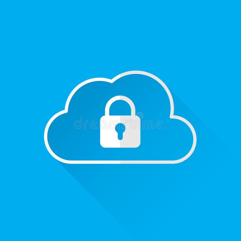 Cloud data security services concept. cloud icon with padlock. vector vector illustration