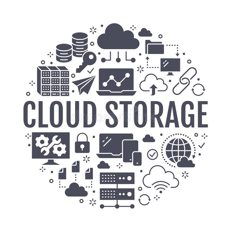 Cloud data storage circle poster with flat glyph icons. Database background, information server center, global network vector illustration