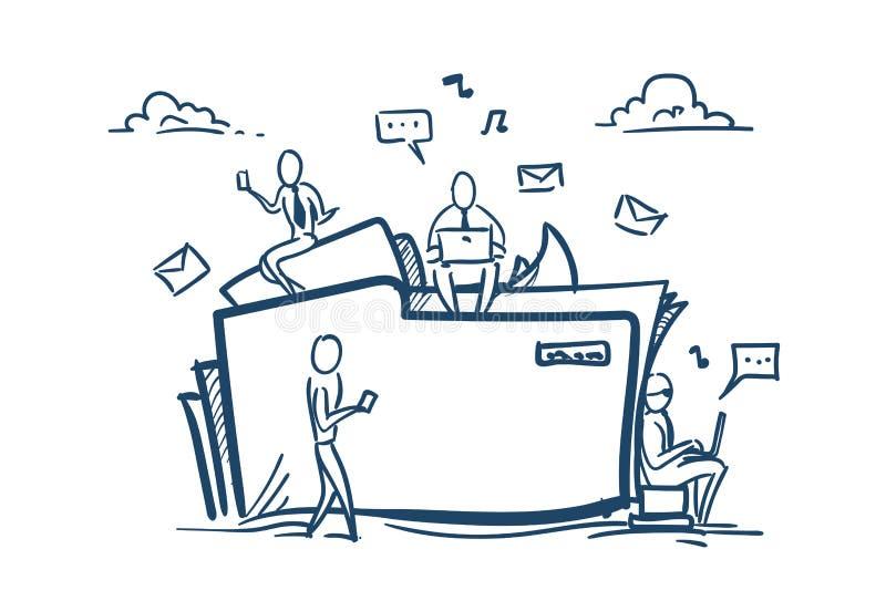 Cloud data storage folder file sharing service concept businesspeople working together over white background sketch stock illustration
