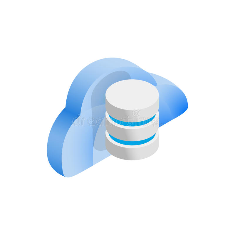 Cloud and data storage icon, isometric 3d style. Cloud and data storage icon in isometric 3d style on a white background vector illustration