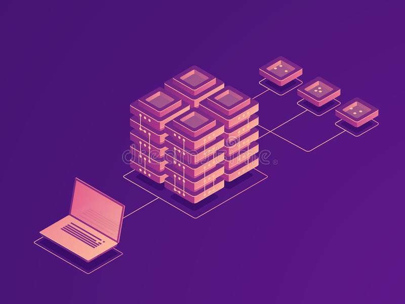 Cloud data storage, internet traffic routing, server room, laptop data flow, data uploading on remote server isometric. Cloud data storage, internet traffic royalty free illustration