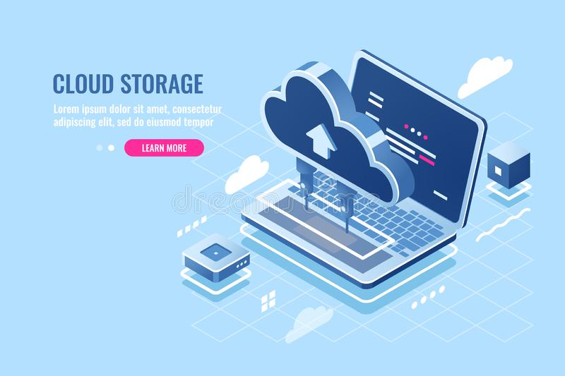 Cloud data storage isometric icon, uploading file on cloud server for remote access concept, laptop computer, database stock illustration