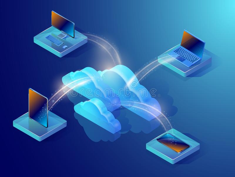 Cloud data storage. Isometric vector illustration. Cloud data storage. Isometric vector illustration showing devices connected to the cloud server. Abstract stock illustration