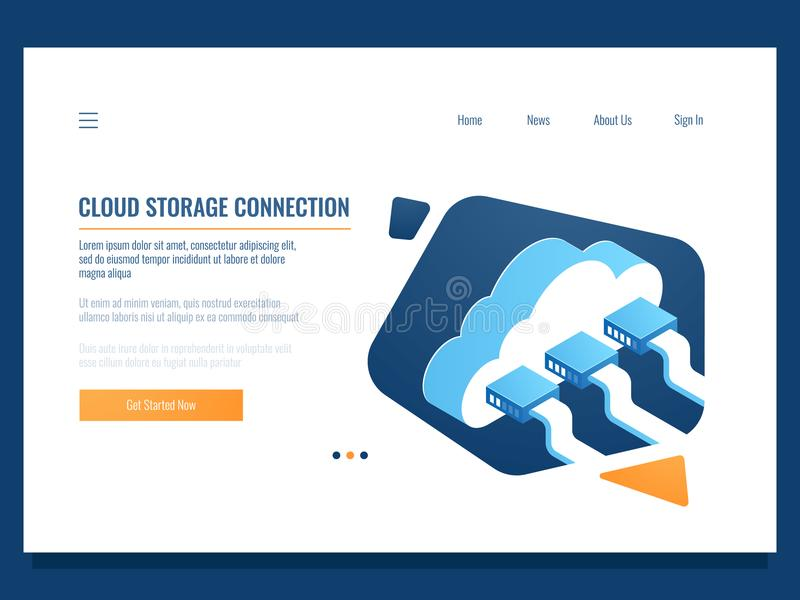 Cloud data storage, remote technology, networking connection, file share access for team, server room and datacenter. Isometric vector illustration royalty free illustration